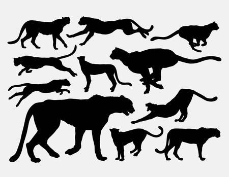 Cheetah wild animal silhouettes Stock Illustratie