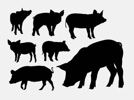 Pig animal silhouettes