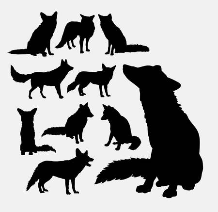 wolves: Fox wild animal silhouettes