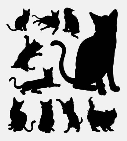Cat action silhouettes Ilustracja
