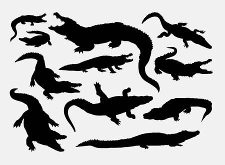 Crocodile reptile wild animal silhouettes Zdjęcie Seryjne - 44344847