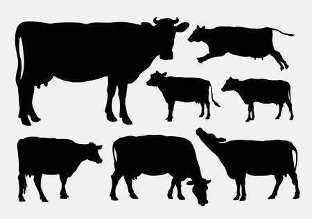 dairy cattle: Cow animal silhouettes