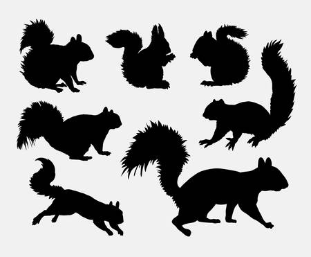 Squirrel animal silhouettes Illustration