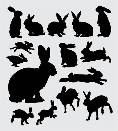 Rabbit action silhouettes
