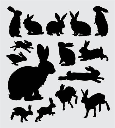 silhouette lapin: Silhouettes d'action de lapin