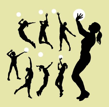 pelota de voley: Siluetas del deporte de Voleibol Vectores
