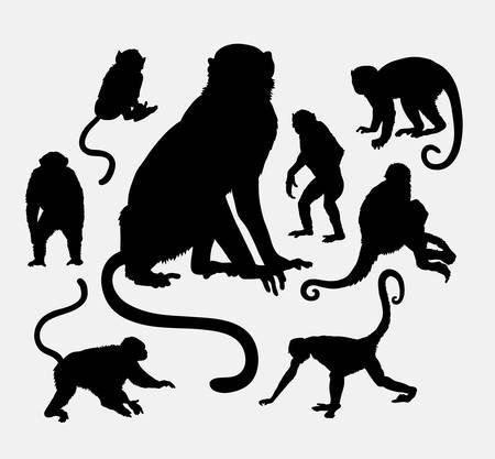 ape: Monkey and ape animal silhouettes Illustration