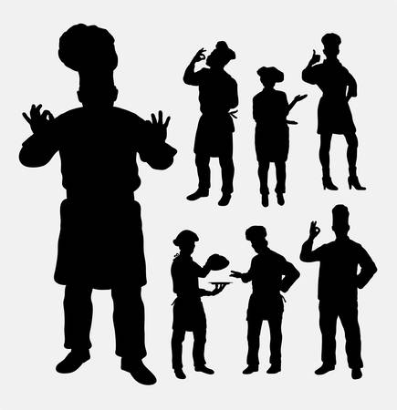 Master chef profession silhouettes