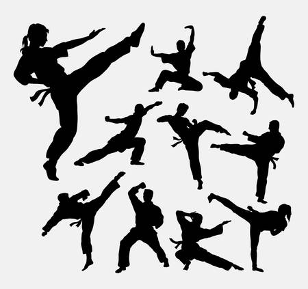 martial art: Martial art 2 male and female silhouettes Illustration
