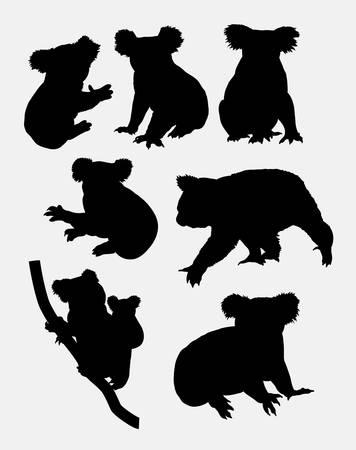 Cute koala animal silhouettes