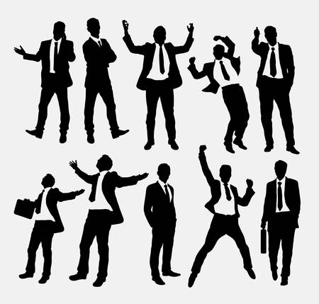 jumping businessman: Businessman success people silhouettes