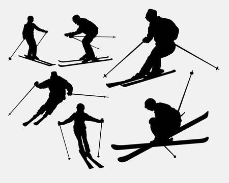Skiing sport silhouette 일러스트