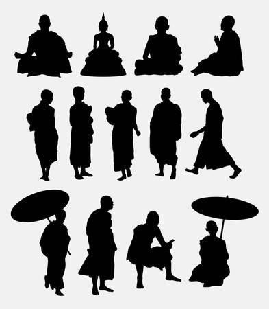 meditates: Buddhist monk silhouettes Illustration