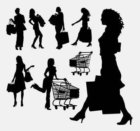 super market: Female people shopping silhouettes Illustration
