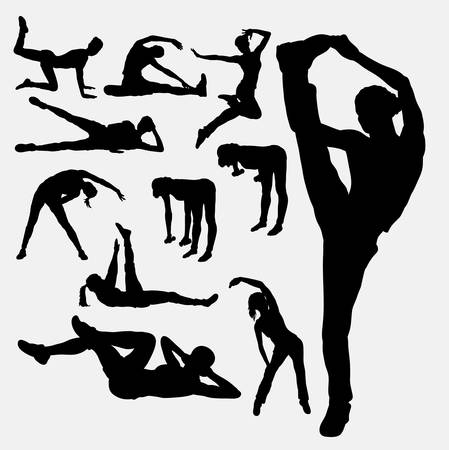 situp: Woman aerobic dance fitness sport silhouettes