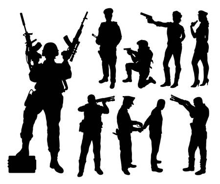 Police, soldier, military silhouettes
