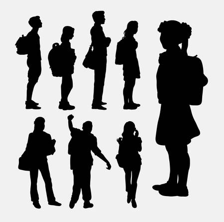 People going to school silhouettes