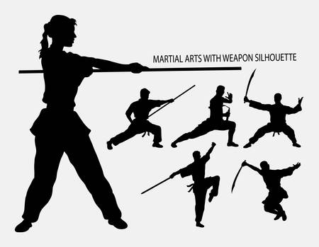 movement: Wushu with weapon martial arts sport silhouette