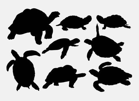 Schildpad en schildpad dierlijke silhouetten Stockfoto - 44484370