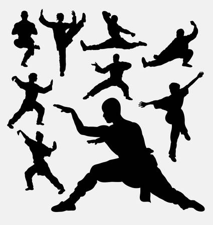 martial art: Wushu male and female martial art silhouettes