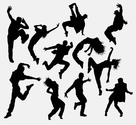 Hip hop mannelijke en vrouwelijke danser silhouetten Stock Illustratie