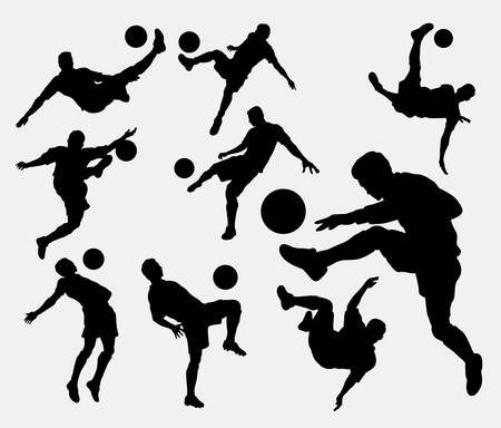 Male people playing soccer sport silhouettes