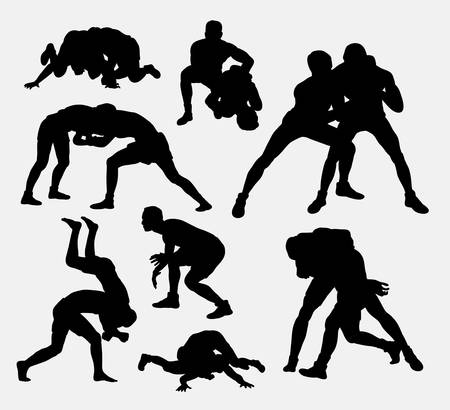Wrestling sport silhouettes