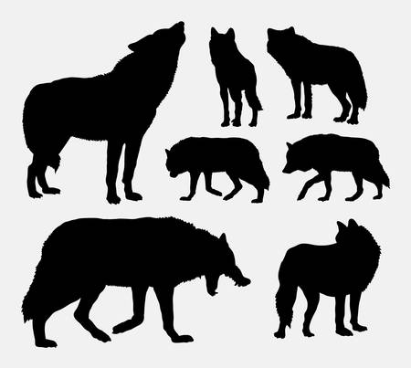 Wolf animal silhouettes