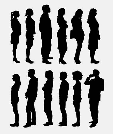 to queue: People standing queue silhouettes Illustration