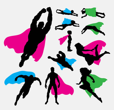 woman flying: Male and female superhero silhouettes