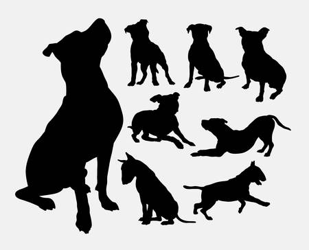 Pitbull, bulldog, terrier, dog animal silhouettes Illustration