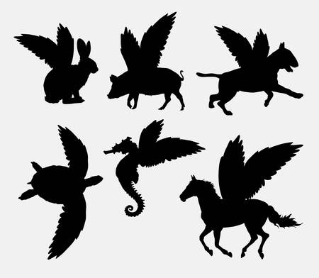 pig with wings: Animal with wings silhouette