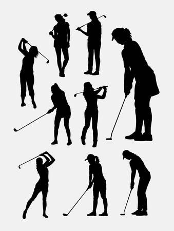 woman vector: Female golfer sport silhouettes