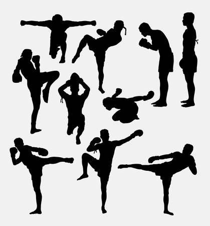 martial art: Thai boxer martial art silhouettes Illustration
