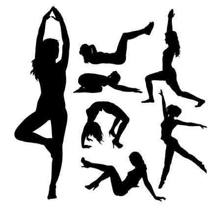 fit: Muchacha apta, fitness, siluetas de actividad deportiva Vectores