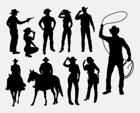 Cowboy en cowgirl silhouetten