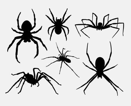 거미, 곤충, 동물 실루엣 일러스트