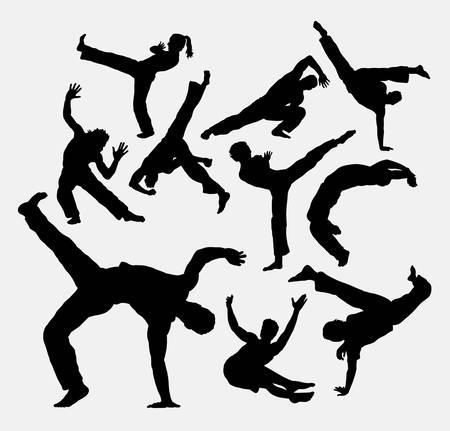 Capoeira sport dance silhouettes