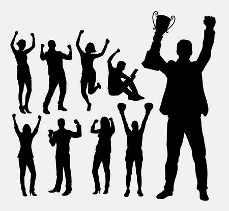Winner people, male and female silhouettes