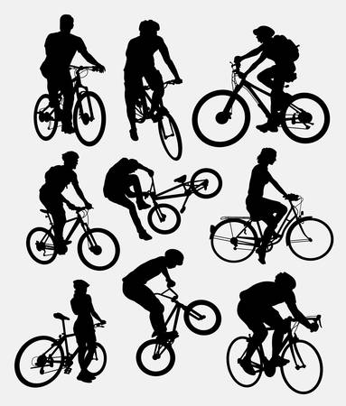 people  male: People, male and female cycling silhouettes