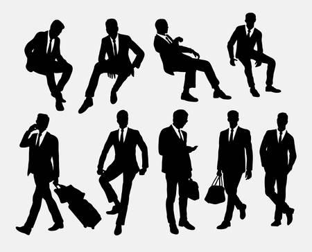 実業家座位および立位シルエット  イラスト・ベクター素材