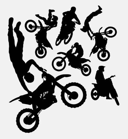 helmet bike: Motocross extreme sport silhouettes Illustration