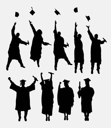 卒業の男性と女性のシルエット