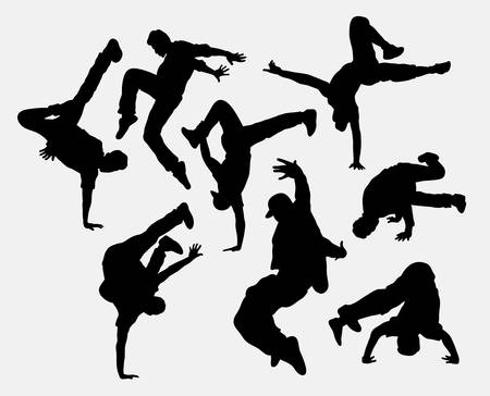 Mensen breakdance silhouetten