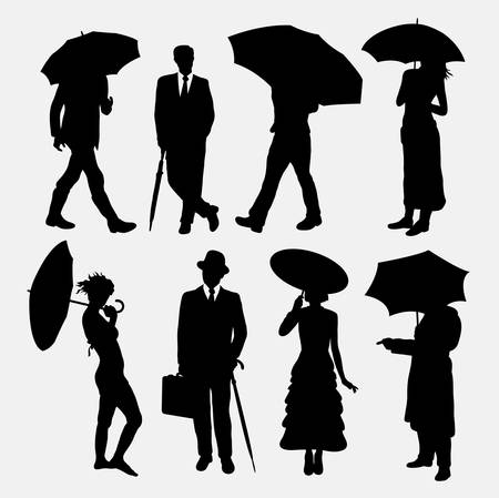 people  male: People, male and female with umbrella silhouettes