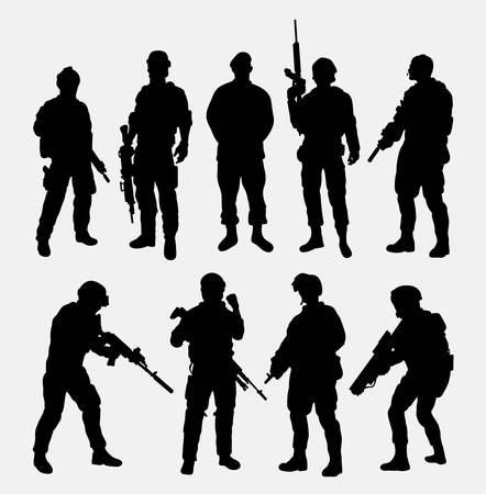 arcade games: Soldier military with weapon pose silhouette