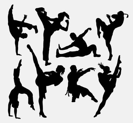 thai martial arts: Kungfu martial arts silhouettes