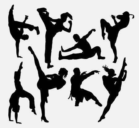 Siluetas Kungfu de artes marciales Ilustración de vector