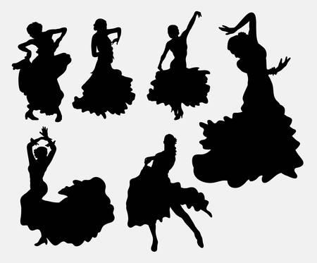 baile latino: Siluetas bailar�n de flamenco Mujer Vectores