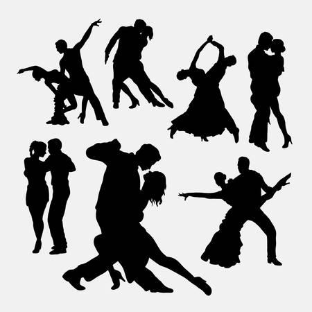 desnudo masculino: Tango pareja de hombres y mujeres siluetas bailarín Vectores